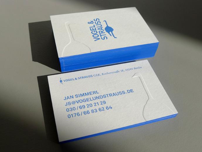 Neue Visitenkarte Vogel Strauss